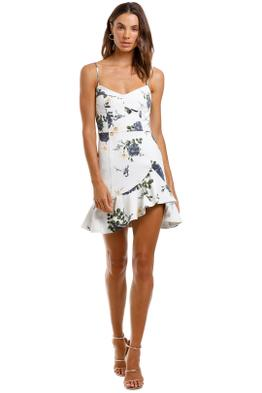 Nicholas Blue Rose Frill Dress White Floral Sleeveless