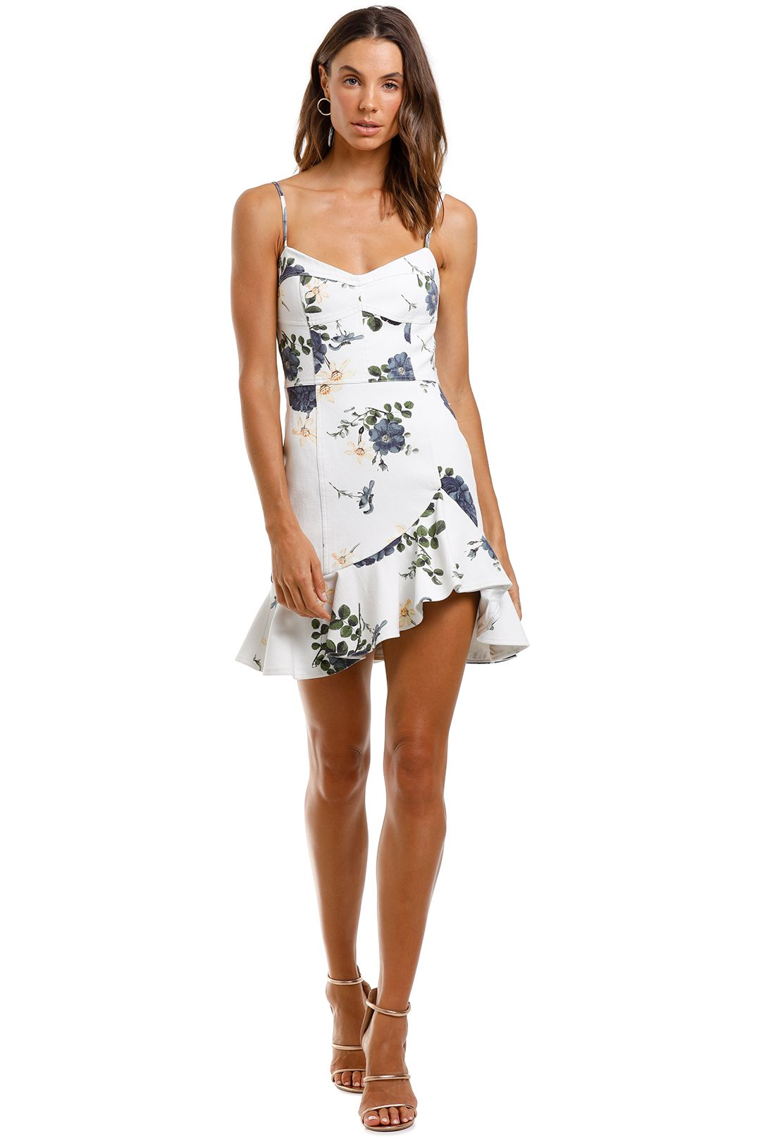 Nicholas Blue Rose Frill Dress White Floral Sleeveless