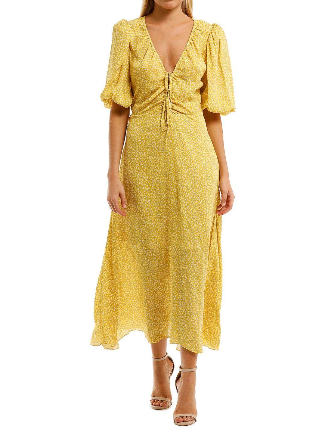 Nicholas Danielle Dress Yellow V Neckline