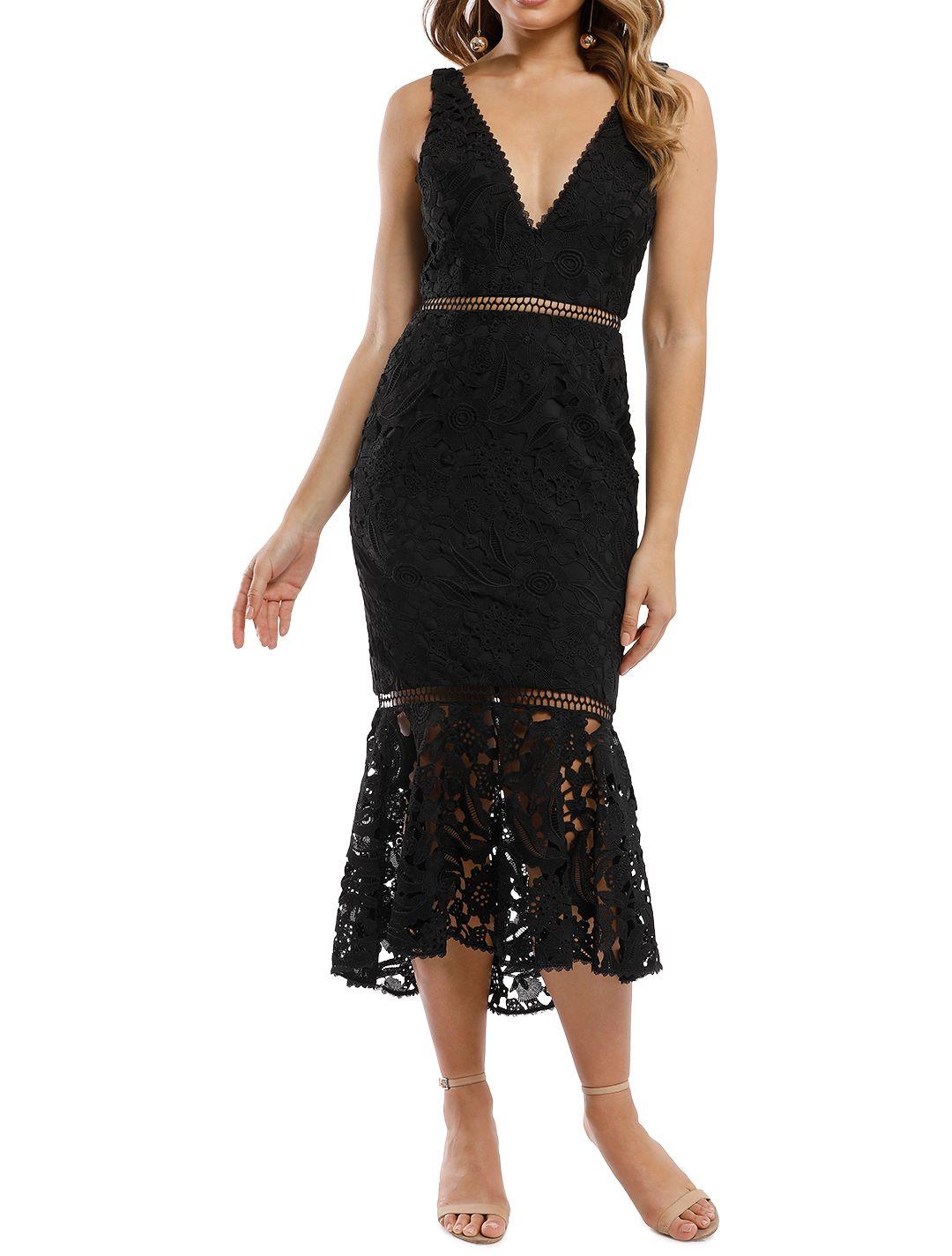 Nicholas the Label - Azalia Lace Plunge Dress - Black - Front