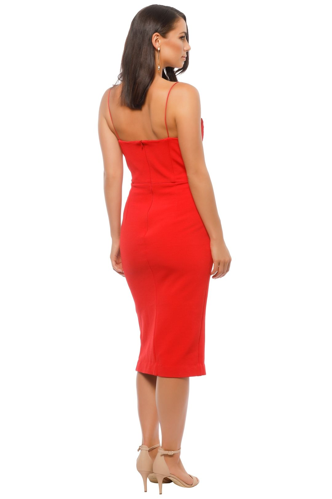 Nicholas The Label - Bandage Quilted Midi Dress - Red - Back