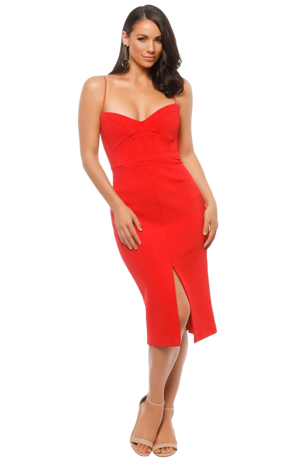 Nicholas The Label - Bandage Quilted Midi Dress - Red - Front