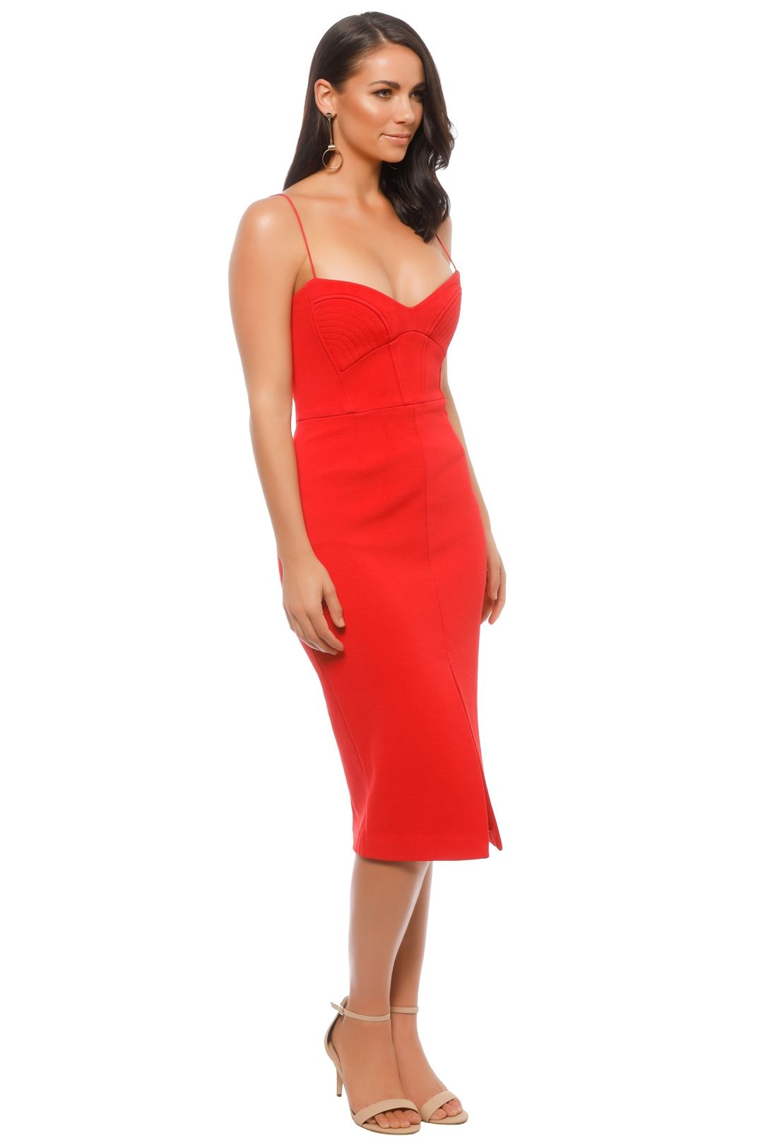 Nicholas The Label - Bandage Quilted Midi Dress - Red - Side
