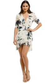Nicholas the Label - Blue Rose Short Sleeve Wrap Dress - Ivory Floral - Front