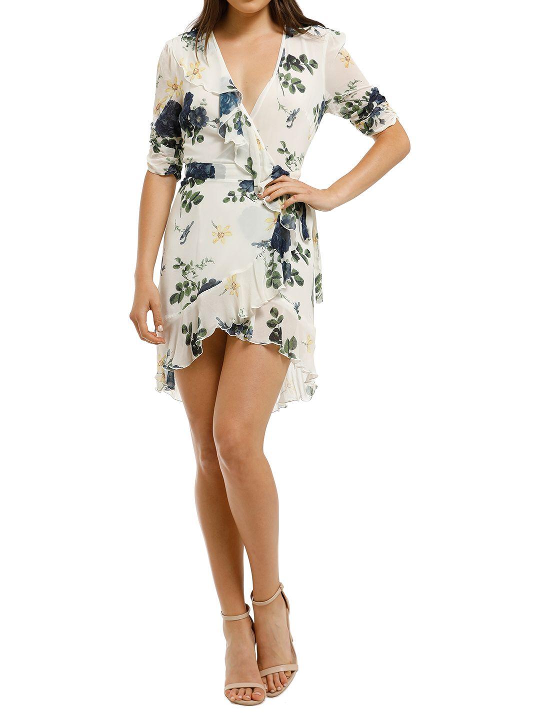 Nicholas the Label - Blue Rose Short Sleeve Wrap Dress - Ivory Floral - Front