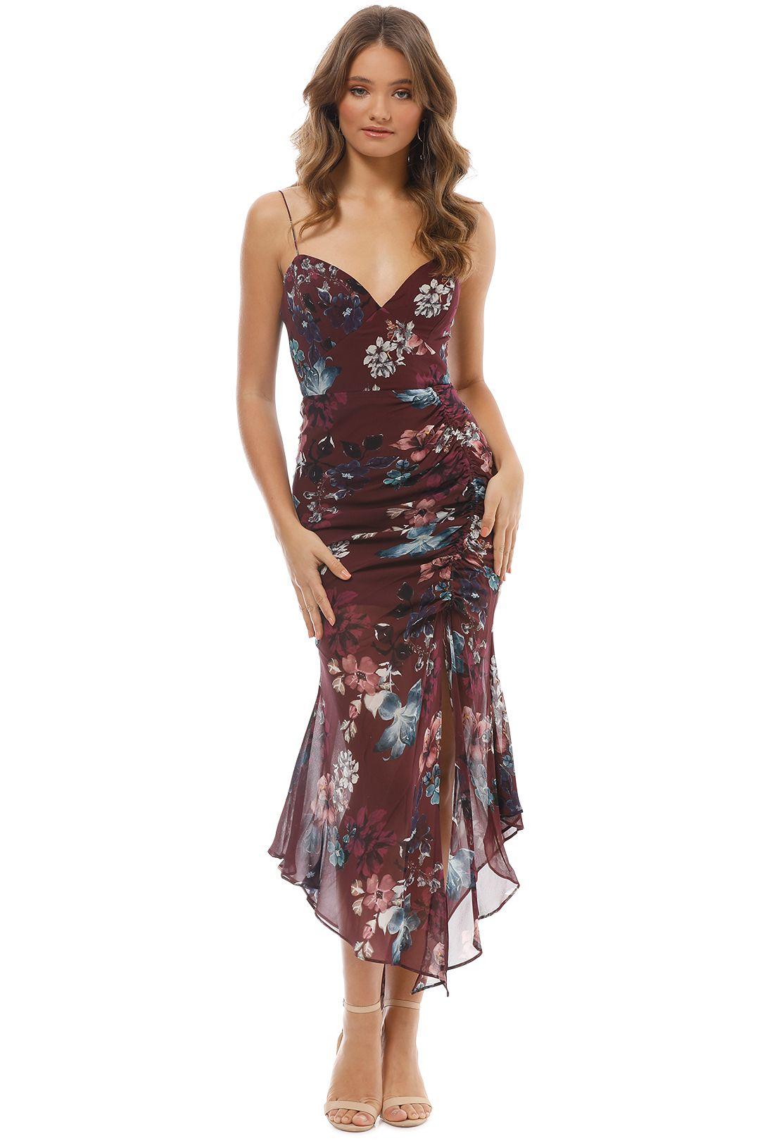 Nicholas The Label - Burgundy Floral Drawstring Dress - Burgundy - Front