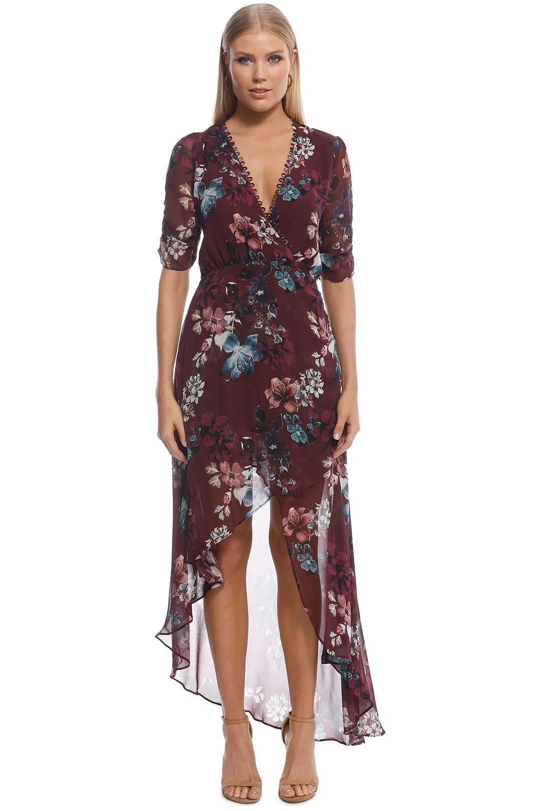 Nicholas the Label - Burgundy SS Floral Wrap Drape Dress - Burgundy - Front
