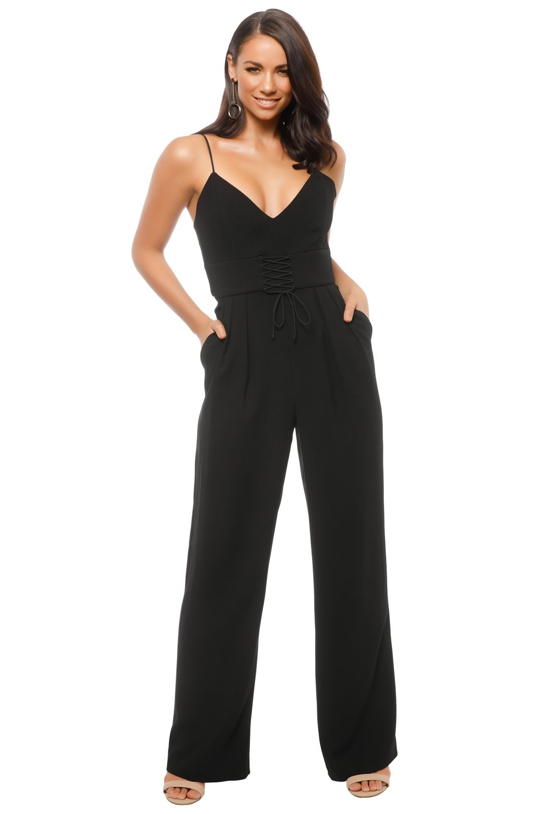 Nicholas The Label - Crepe Corset Jumpsuit - Black - Front