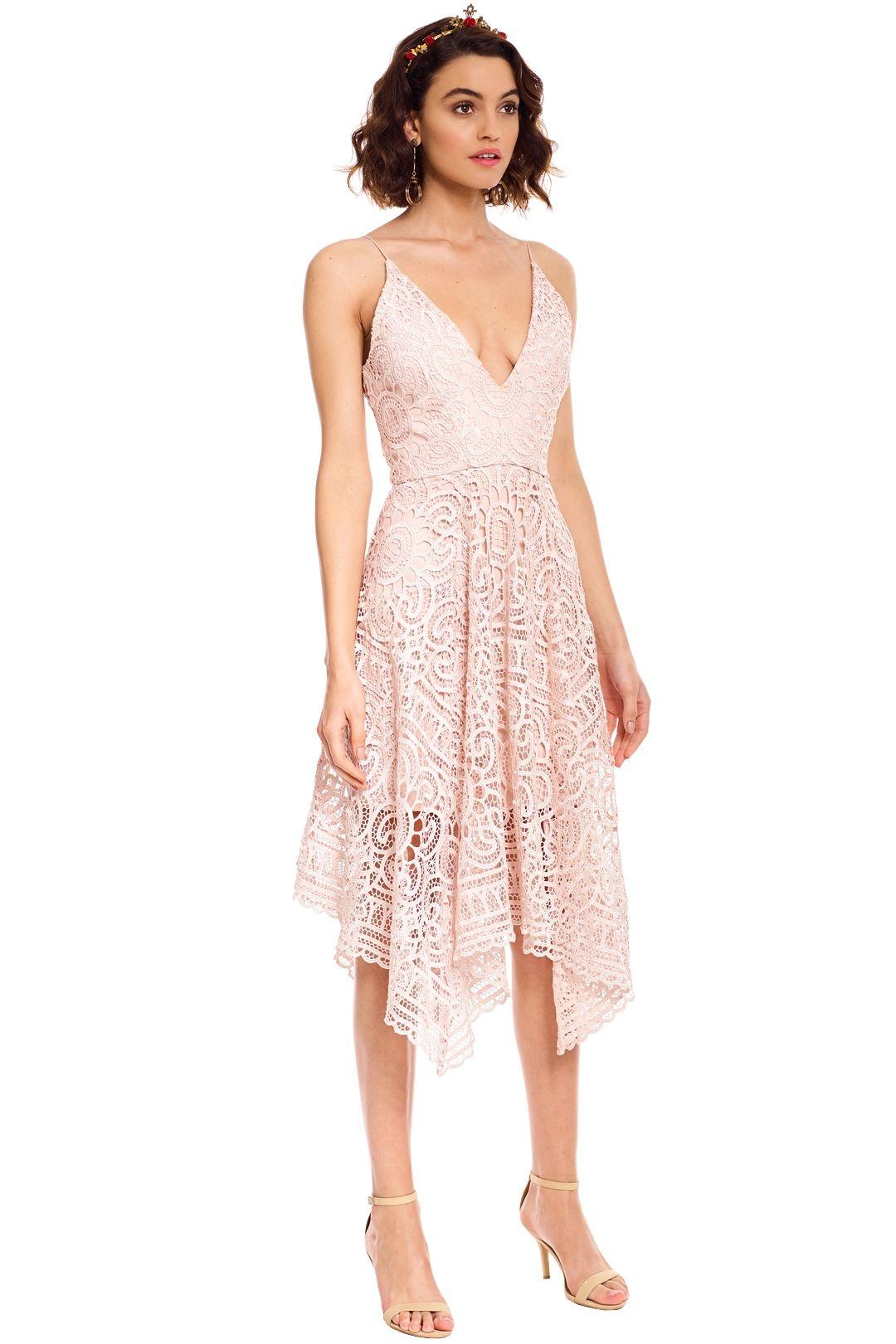 Nicholas - Floral Lace Ball Dress - Antique Pink - Side