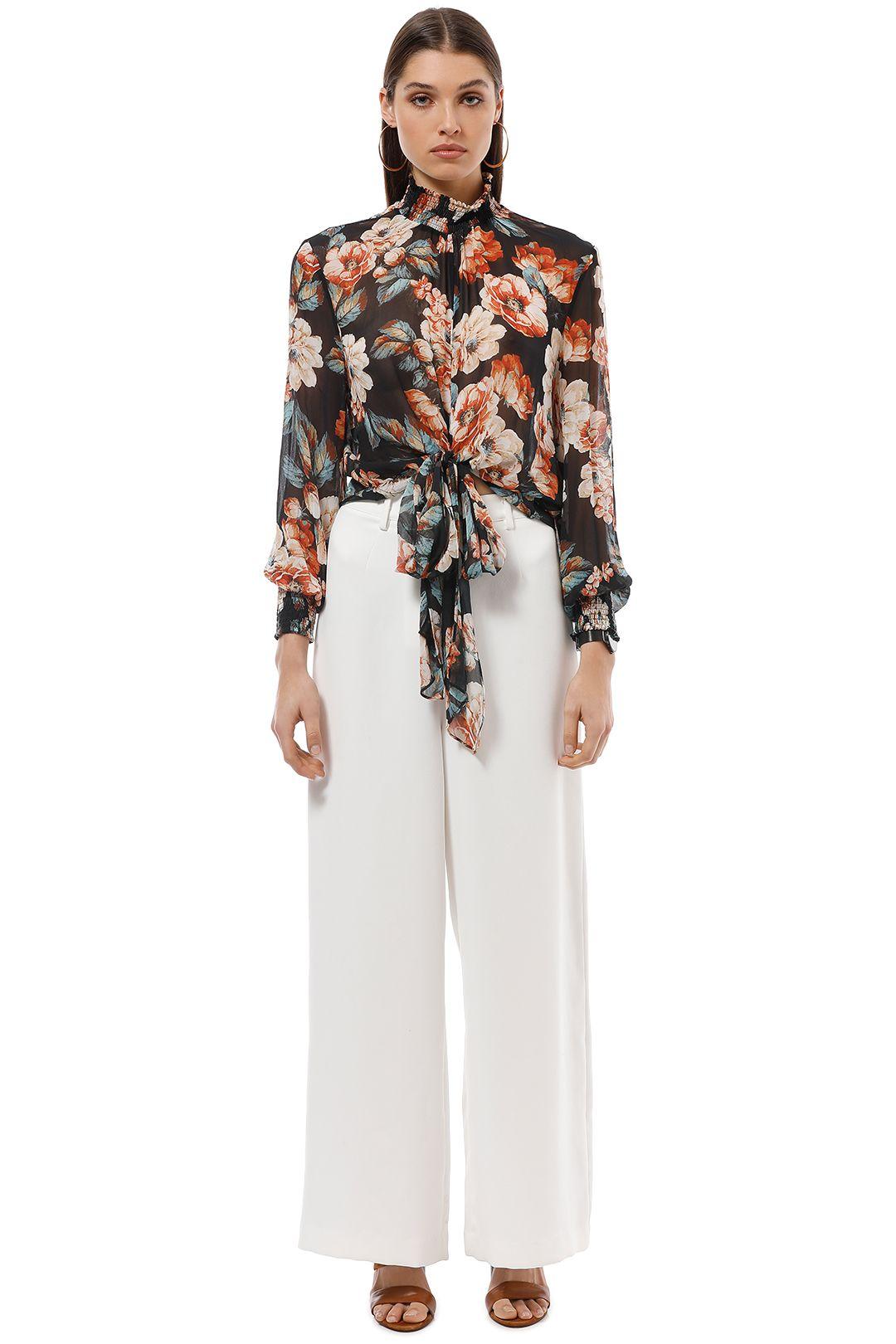 Nicholas The Label - Lola Floral Tie Front Top - Black Floral - Front