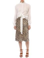Nicholas The Label - Lurex Stripe Tie Front Blouse - White - Front