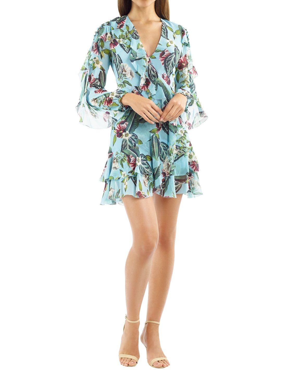 Nicholas the Label - Mayflower Ruffle Mini Dress - Teal - Front