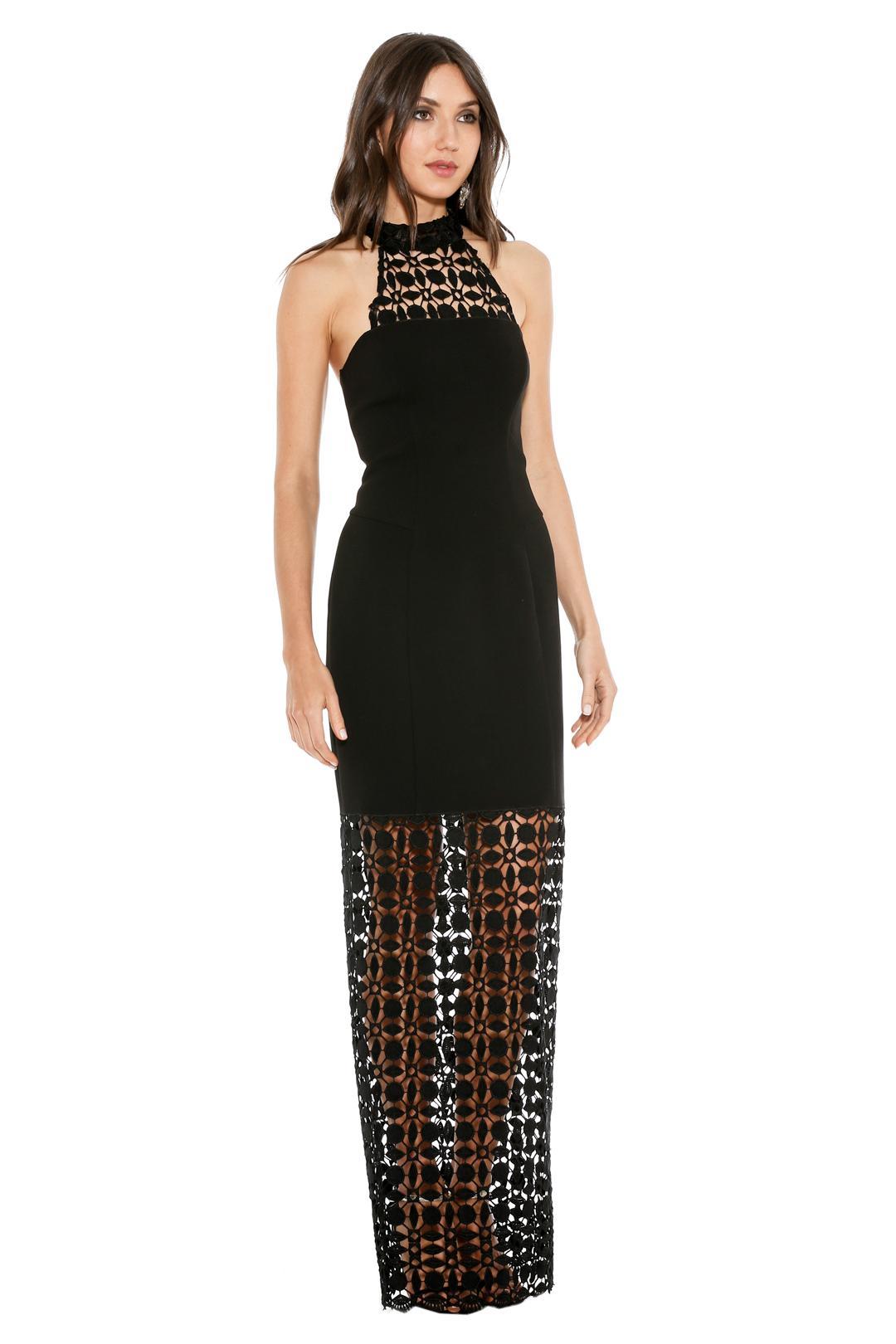 Lace Keyhole Tie Back Plus Size Halter Dress