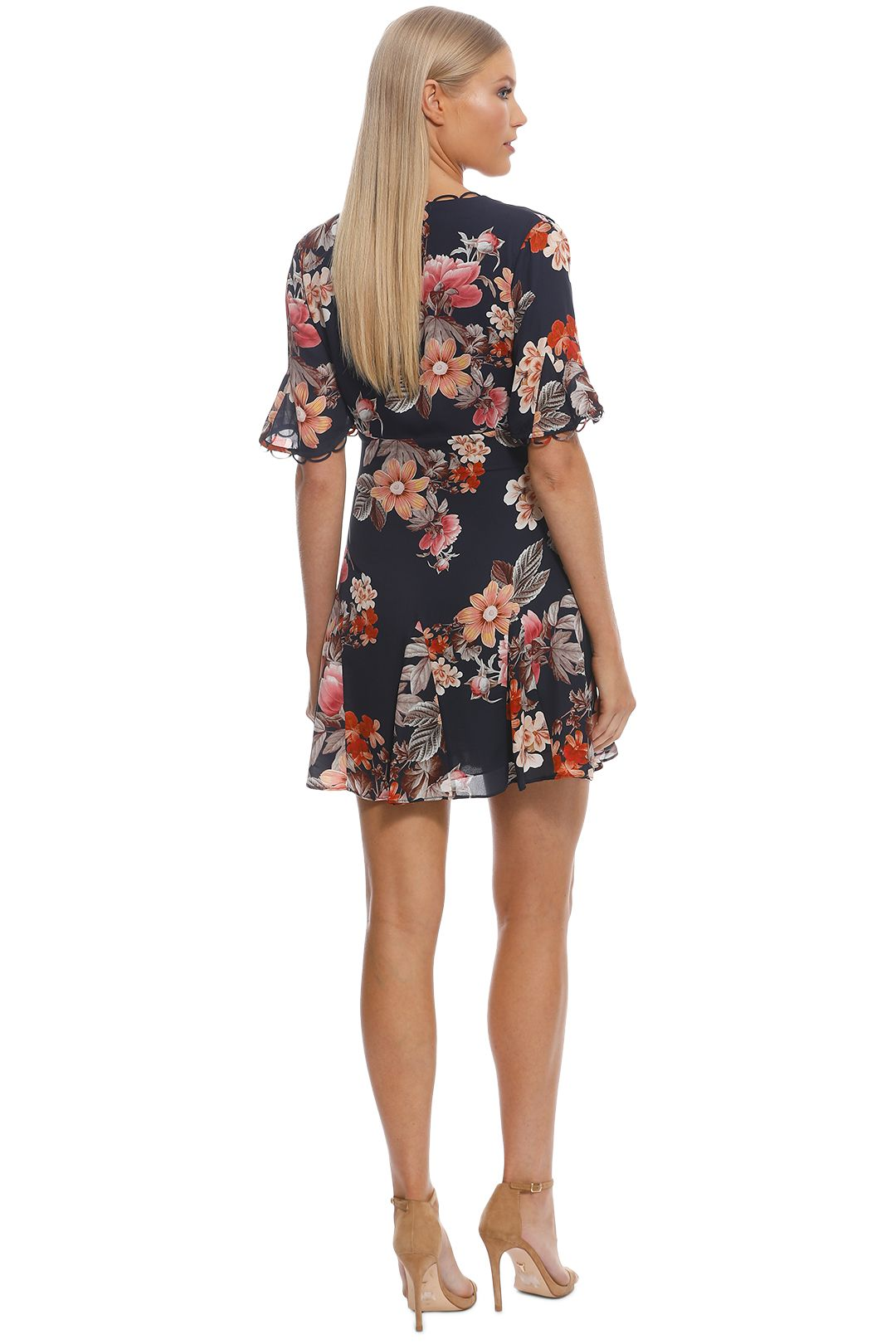 Nicholas The Label - Navy Rust Floral Godet Button Front Dress - Navy - Back