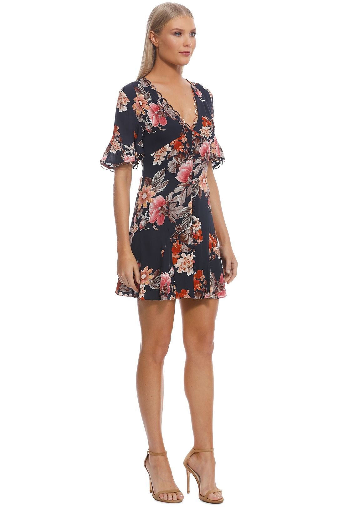 Nicholas The Label - Navy Rust Floral Godet Button Front Dress - Navy - Side