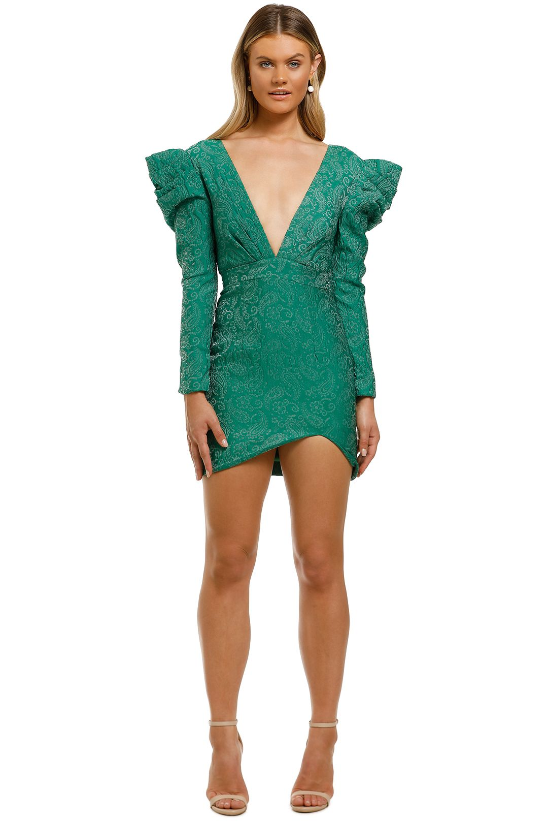 Nicola-Finetti-V-Neck-Puff-Sleeve-Mini-Dress-Emerald-Front