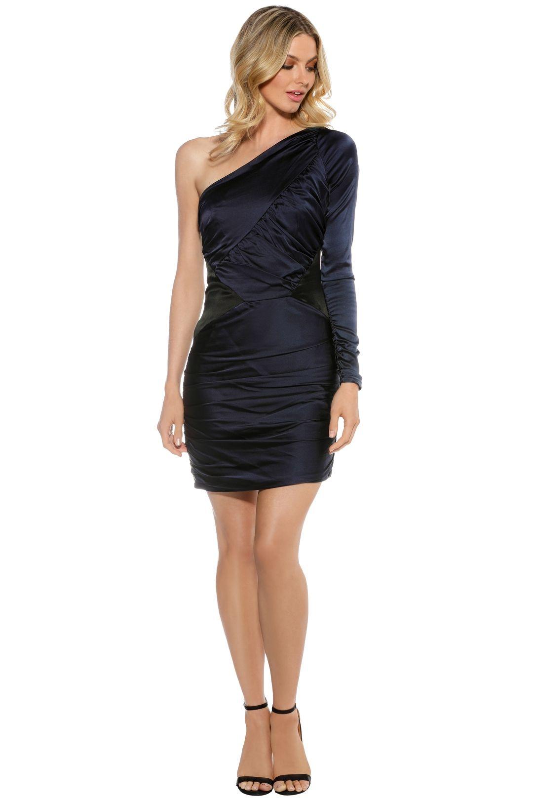 Nicola Finetti - Asymmetric Ruffle Dress - Navy - Front