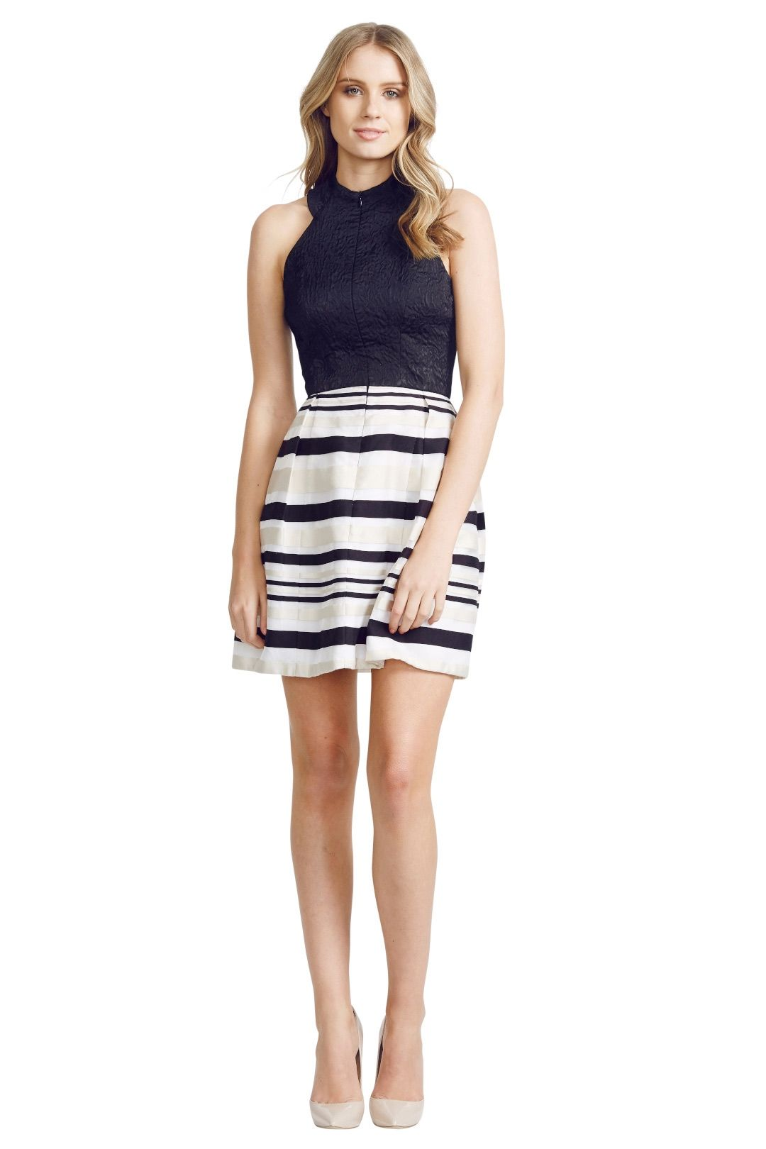 Nicola Finetti - Stripe Skirt Zip Front Dress - Black Print - Front