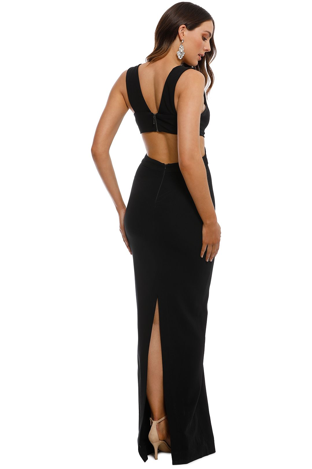 Nicole Miller - Carlessa Cut Out Gown - Black - Back