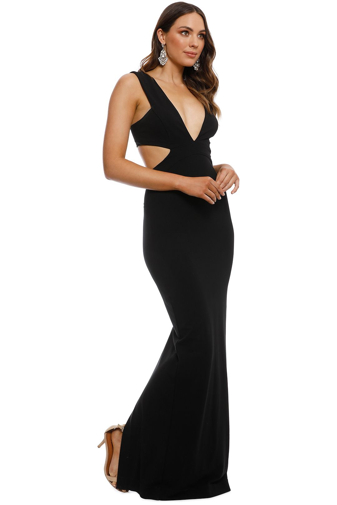 Nicole Miller - Carlessa Cut Out Gown - Black - Side