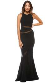 Nicole Miller - Cynthia Mesh Panel Gown - Black - Front