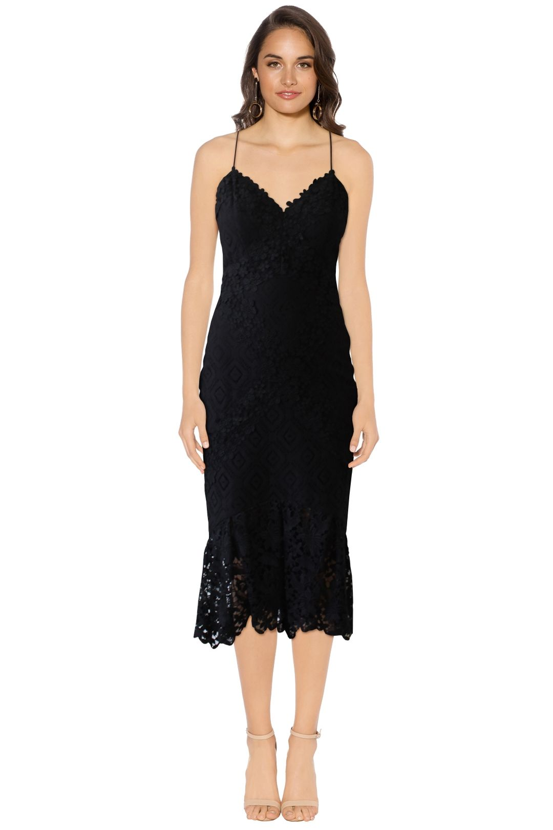 Nicole Miller - Leila Lace Combo Dress - Black - Front