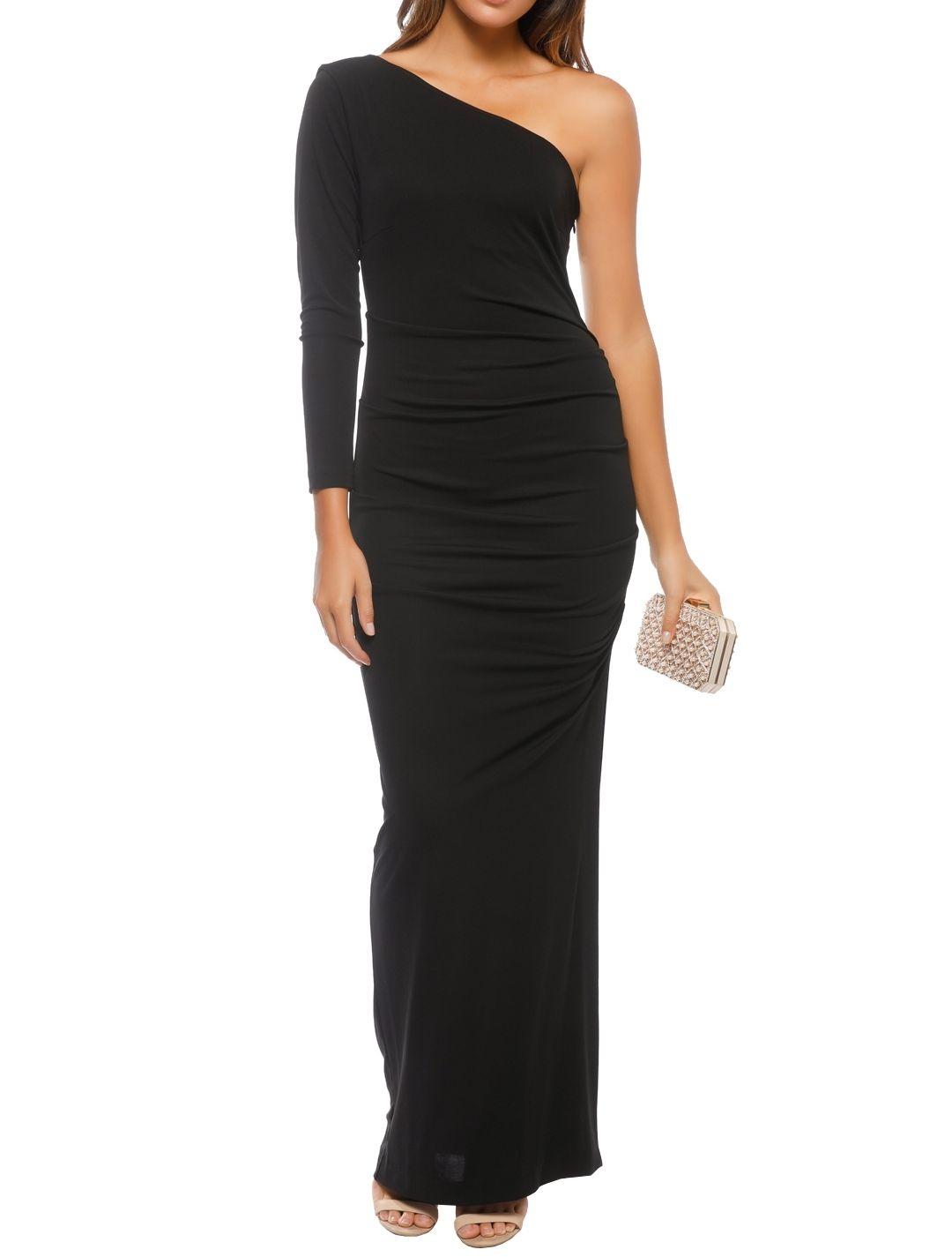 Nicole Miller - One Shoulder Gown - Black - Front