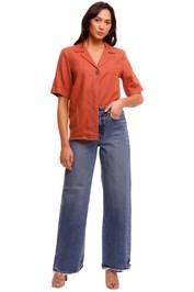 Nobody Denim Gallery Linen Shirt Rust