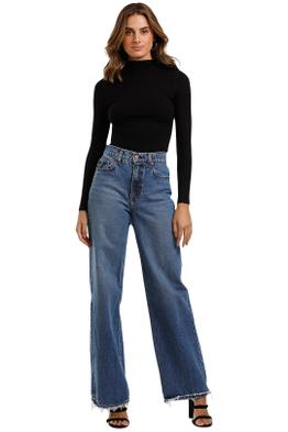 Nobody Denim Luxe Rib Funnel Neck Top fitted
