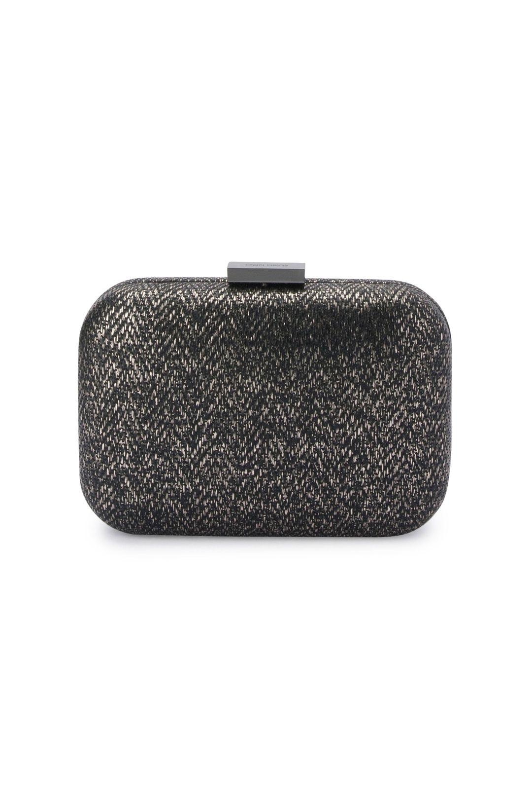 Olga Berg - Ana Woven Metallic Clutch - Black - Product