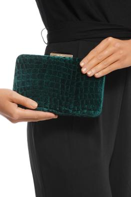 Olga Berg - Annalise Croc Embossed Velvet Clutch - Emerald - Product