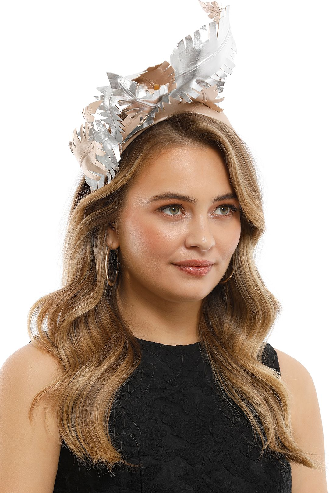 Olga Berg - Brooke Fascinator - Blush Silver - Side Model