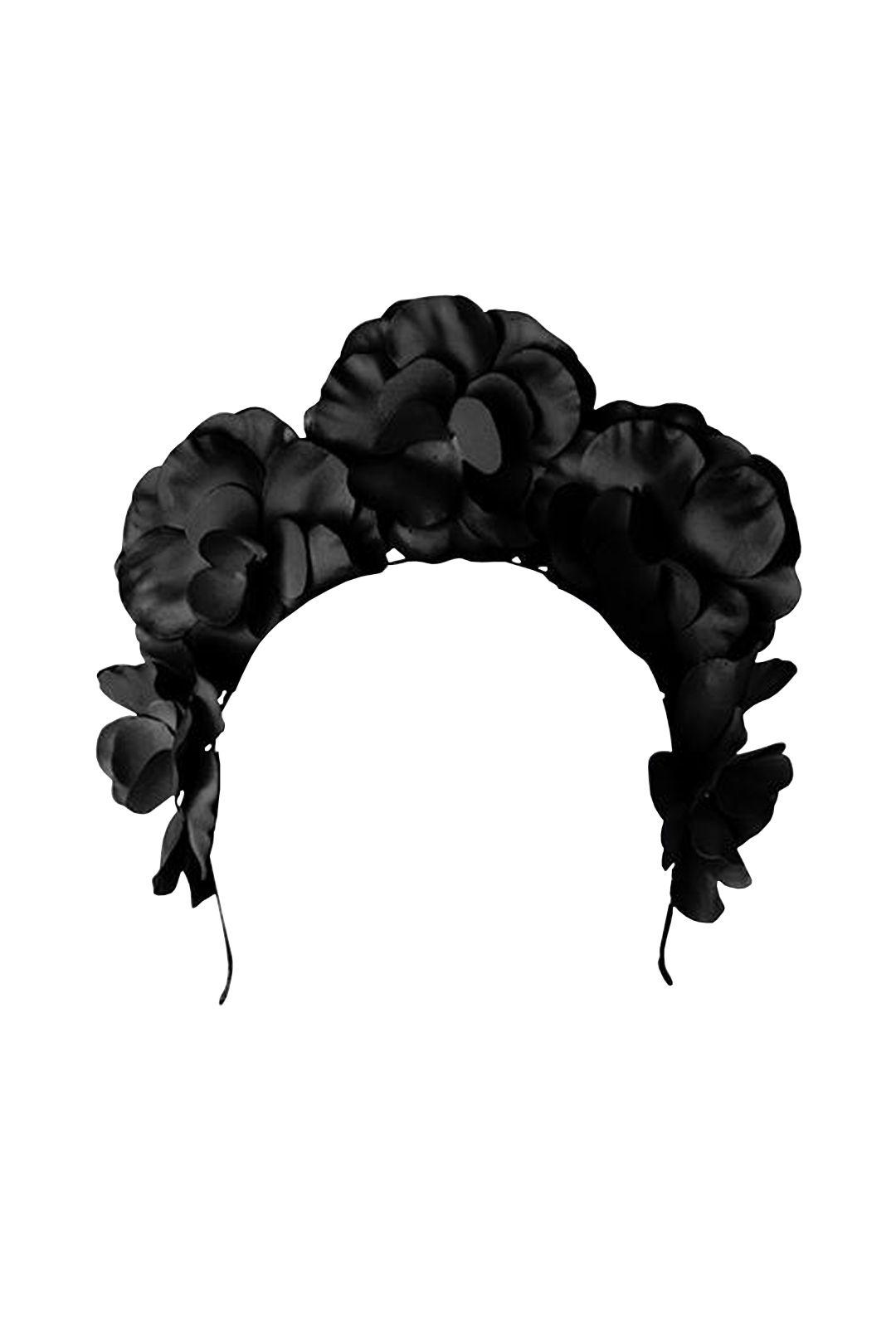 Olga Berg - Flora Floral Fascinator - Black - Front