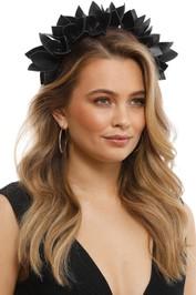 Olga Berg - Jess Floral Headband - Black - Side Model