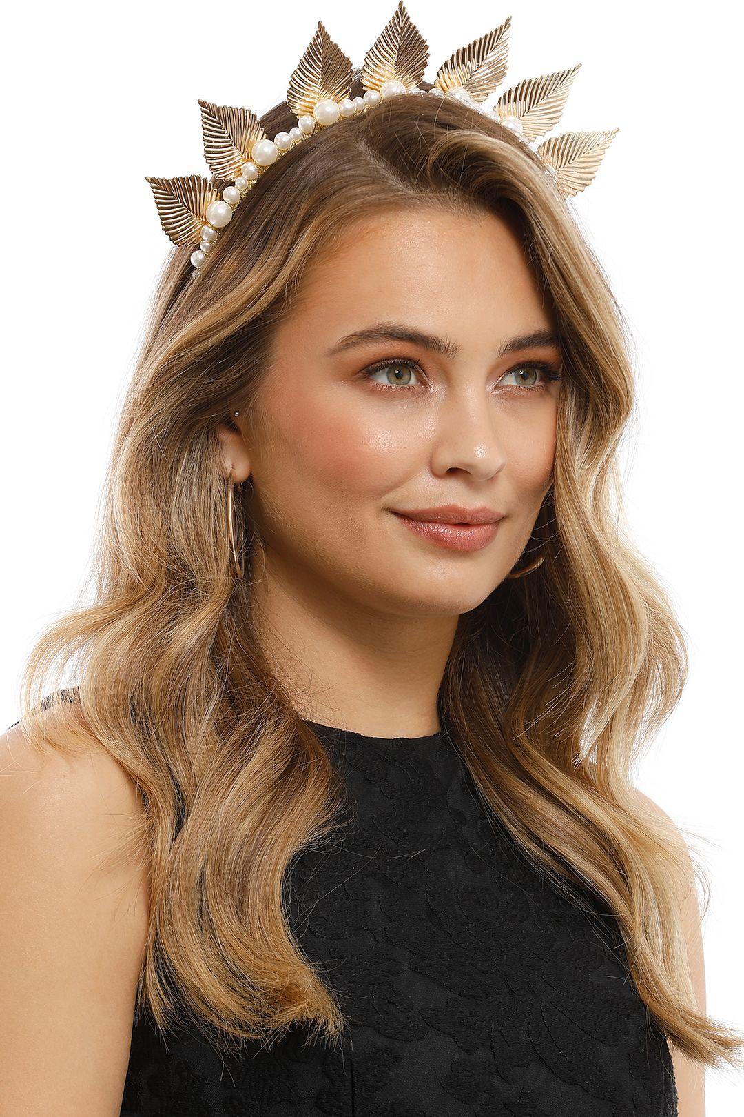 Olga Berg - Love Leaf and Pearl Headband - Gold - Product