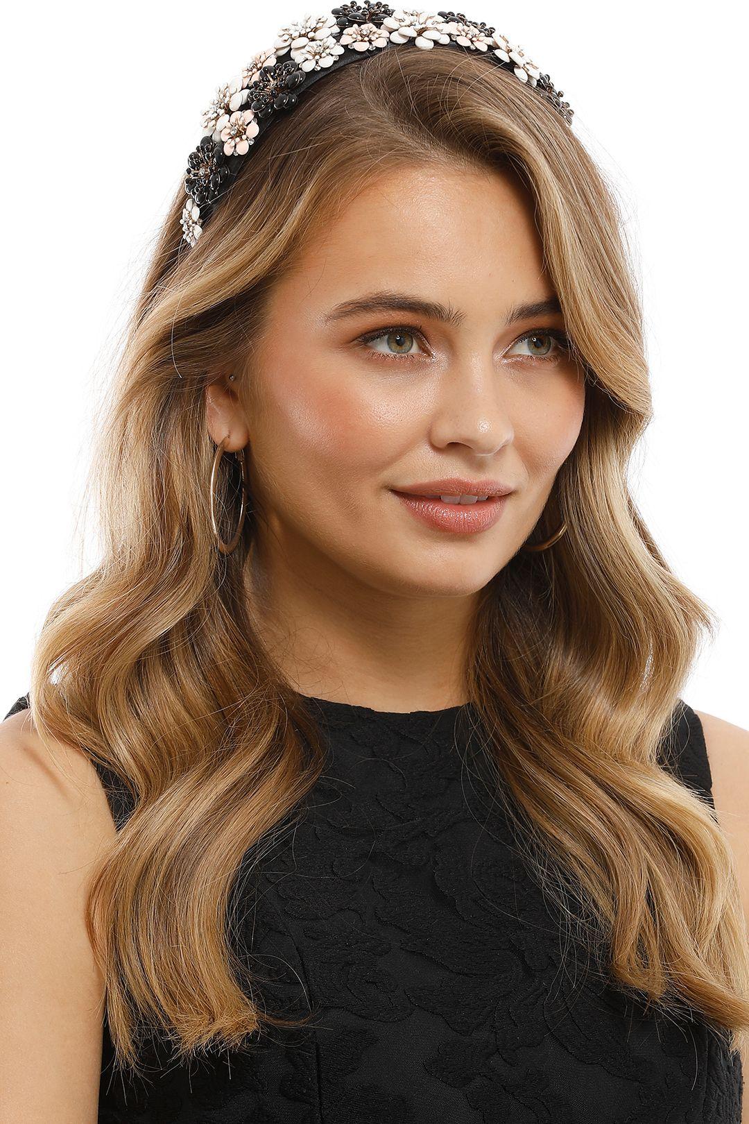 Olga Berg - Victoria Floral Headband - Black - Side Model