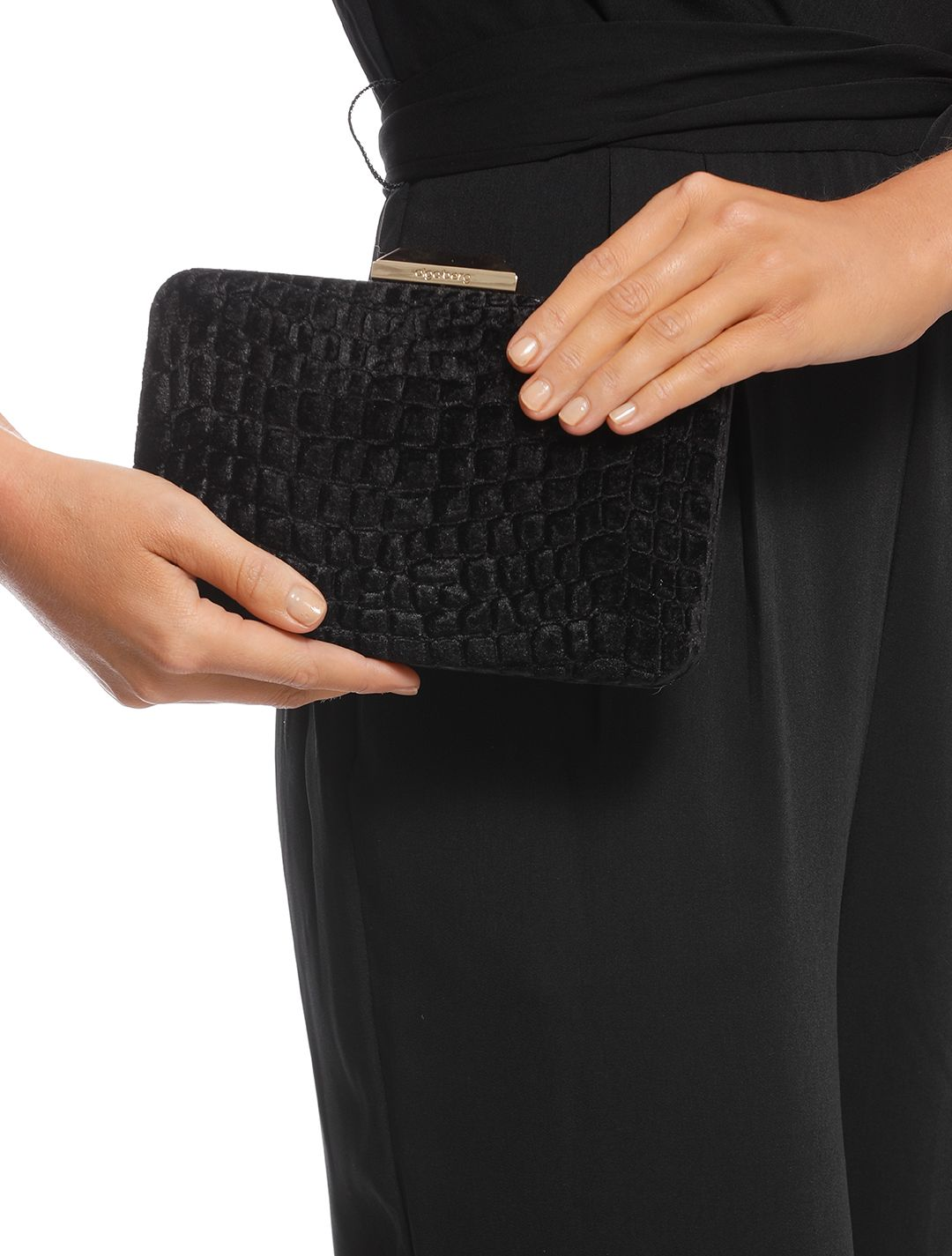 Olga Berg - Annalise Croc Embossed Velvet Clutch - Black - Product