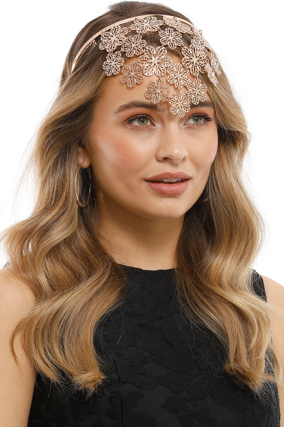 Olga Berg - Reyna Floral Metal Headband - Rose Gold - Side