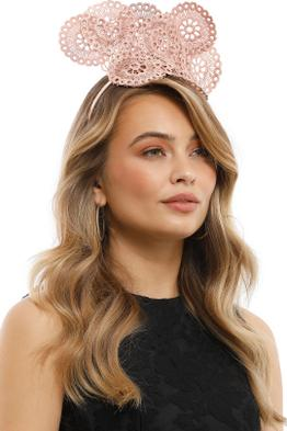Olga Berg - Courtney Lace Fascinator - Rose - Front