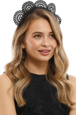 Olga Berg - Claire Lace Headband - Black - Model