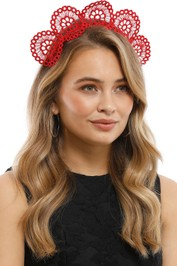 Olga Berg - Claire Lace Headband - Red - Side