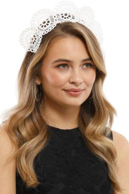 Olga Berg - Claire Lace Headband - White - Side