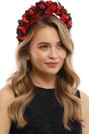 Olga Berg - Karlie Floral Halo Fascinator - Red Black - Model