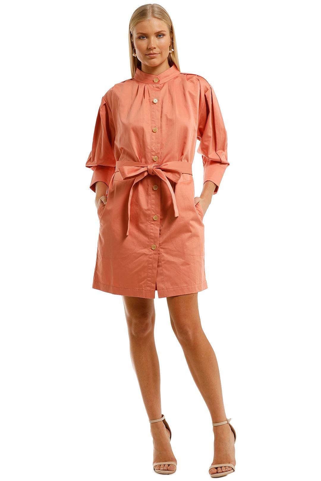 Oroton Placket Detail Dress Orange Mini Length
