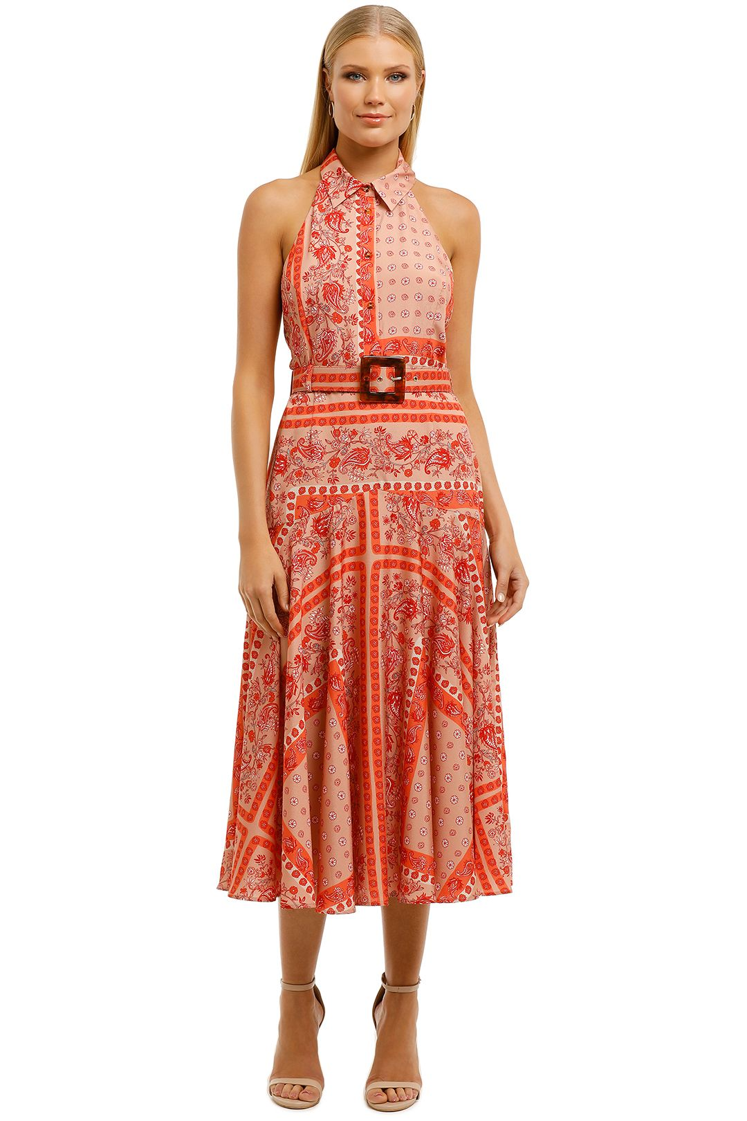 Pasduchas-Amber-Halter-Midi-Dress-Papaya-Front