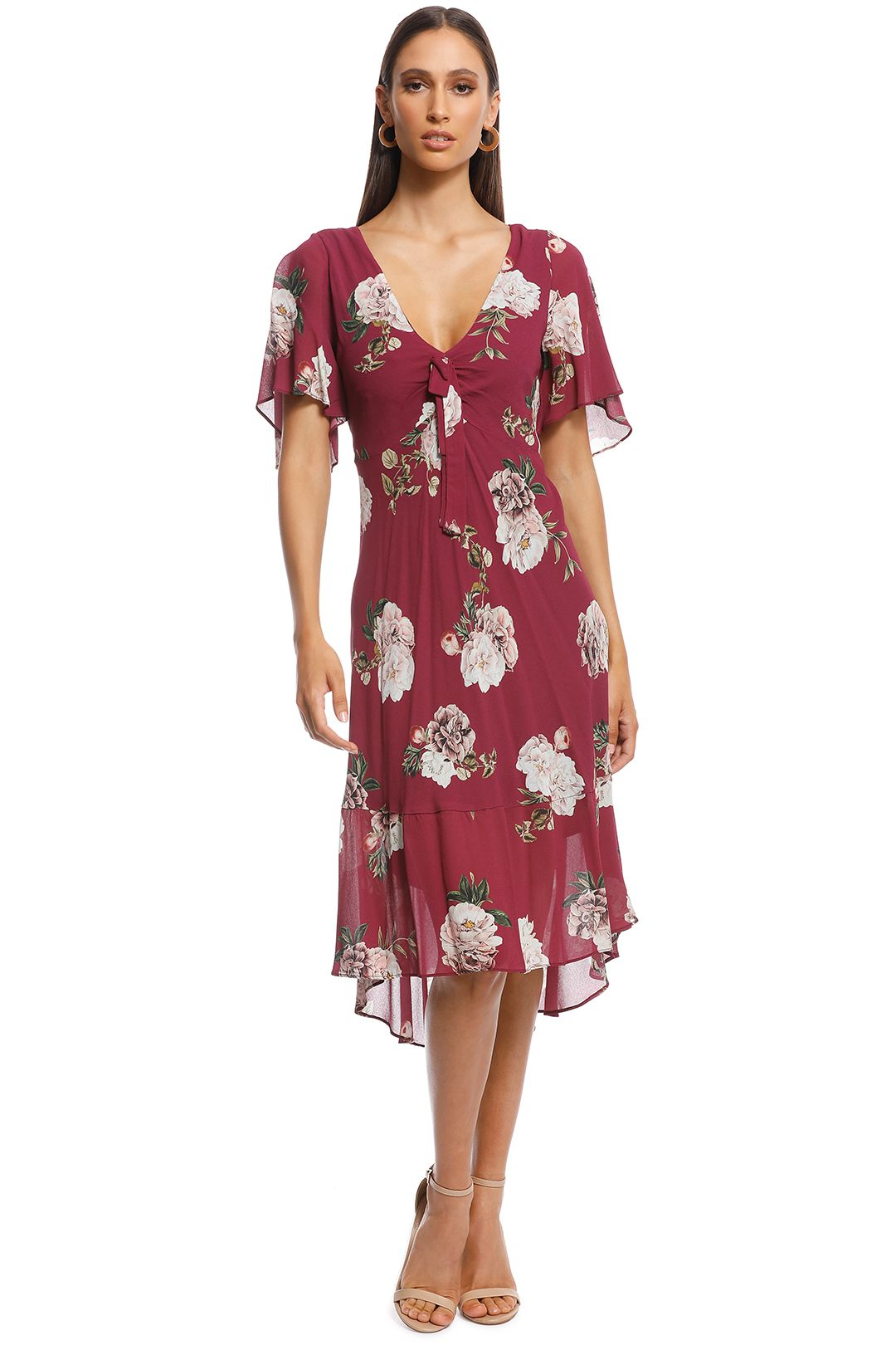 Pasduchas - Botanical Midi Dress - Berry - Front