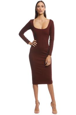 Pasduchas - Destiny Midi Dress - Burgundy - Front