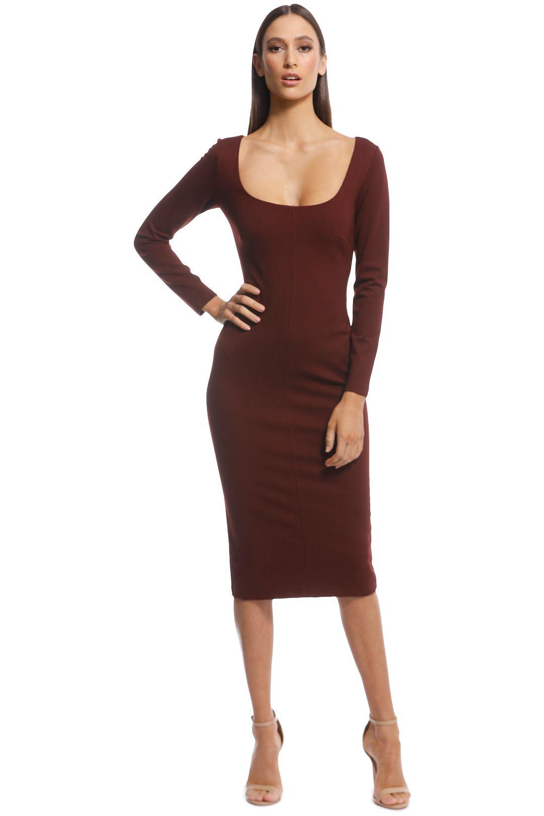 Pasduchas - Destiny Midi Dress - Burgundy - Front