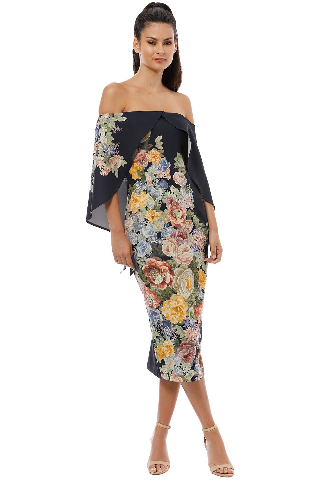 Pasduchas - Flower Garden Shoulder Midi Dress - Black - Side
