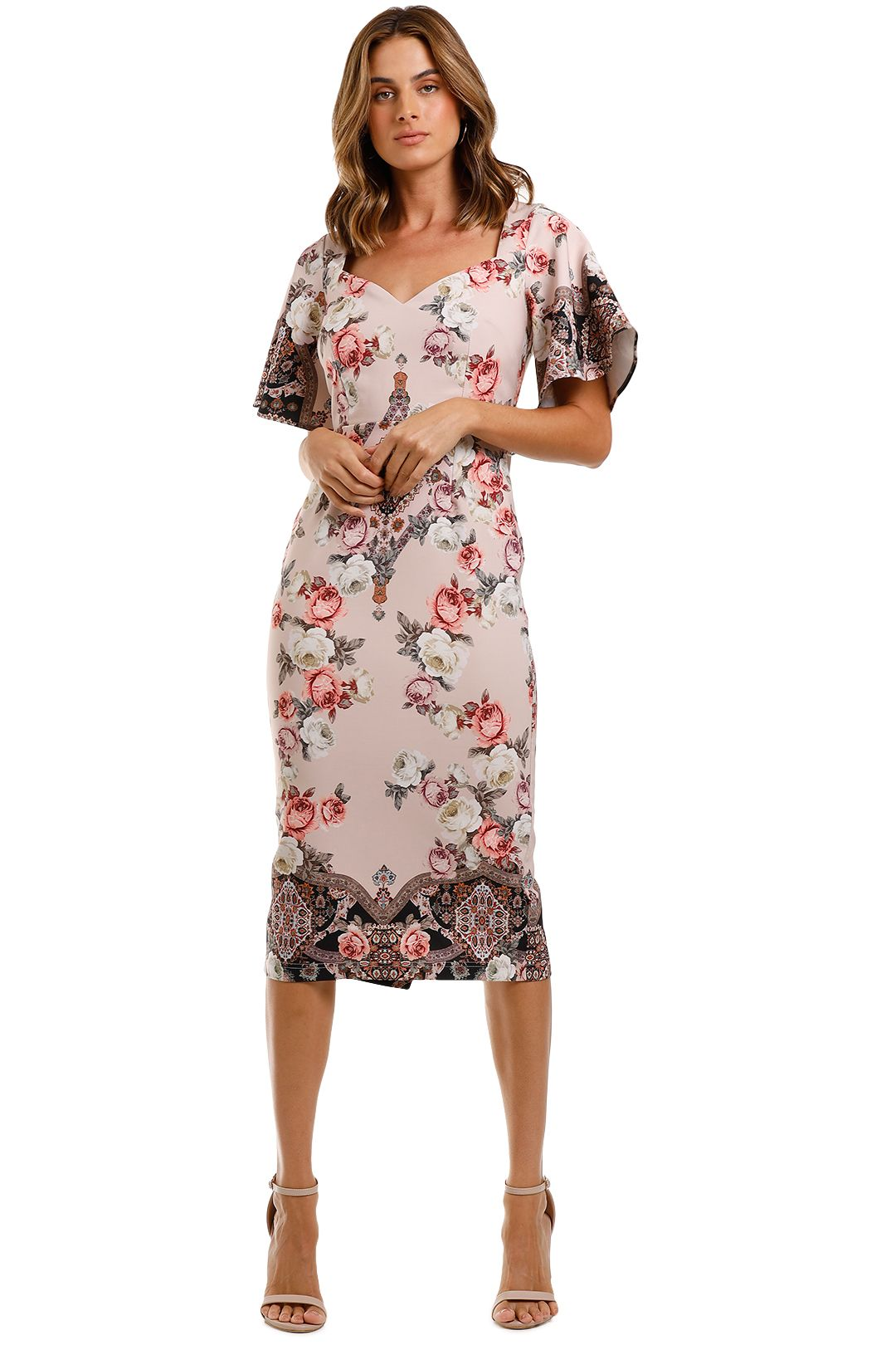 Pasduchas Chichi Sleeve Midi Dress Floral flutter sleeve
